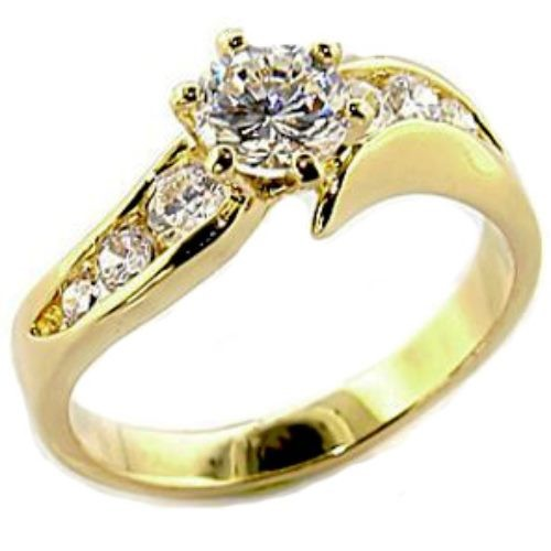 cz curved band 14k gold plated engagement ring trade me