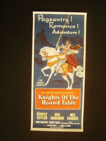 Orig theatrical knights of the round table 1954 daybill for 13 knights of the round table