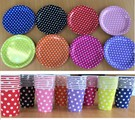 Paper Plates - Polka Dots ORANGE x 8 Units