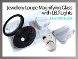 Dual 60X & 30X Jewelry Loupe LED Magnifying Glass