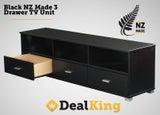 ** BLACK 3 DRAWER NZ MADE TV UNIT $349 **