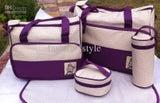 New Nappy/Diaper Bag Set 5 Pieces Purple