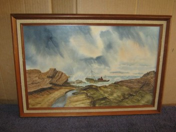 R F Singleton Ship wreck Seashore painting 1980