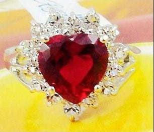 CZ Diamond & Ruby Heart 18KGP White Gold Ring