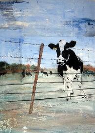 The Cow Next Door A3 Art Print -NZ Artist