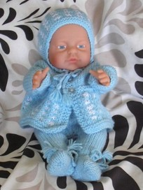 Beautiful 40cm Baby Boy in Hand-knitted Layette