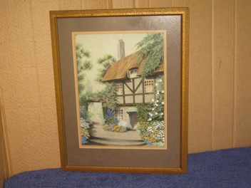 Awesome Cottage & Garden Painting signed - beautiful & well done