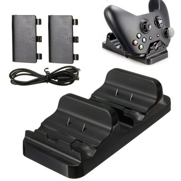 Dual Charging Dock Charger + 2 Rechargeable Batteries For Xbox One  Controllers