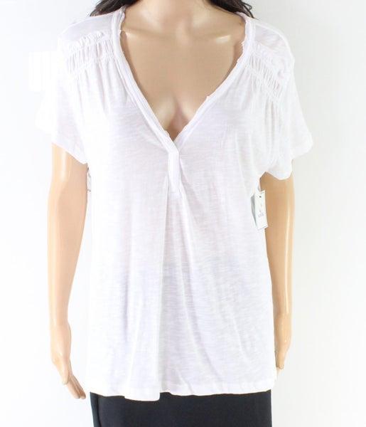 1d1da6e2cf8862 Susina NEW White Women's US Large L V-Neck Ruffle Trim Knit Top | Trade Me