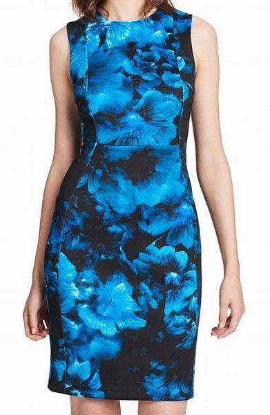046f3769 Calvin Klein NEW Blue Women's US 10 Floral Print Scuba Sheath Dress ...