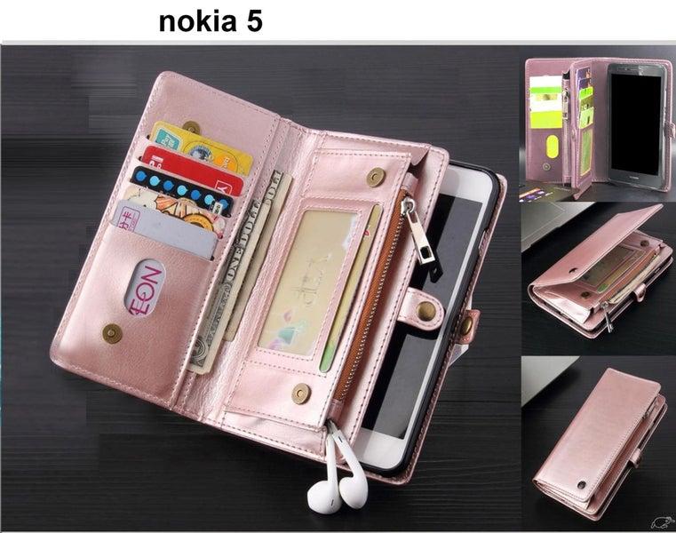 newest a9789 0da42 nokia 5 case fine leather wallet multi cards, pockets & zip RG