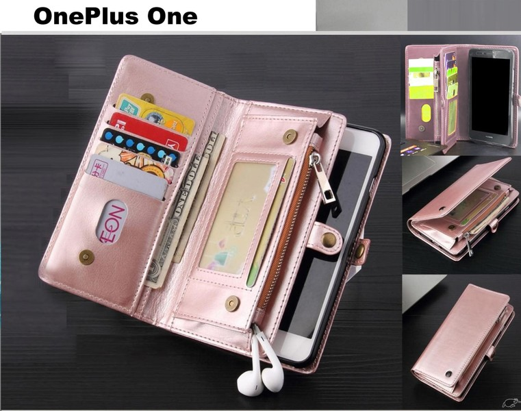 purchase cheap 9c5d5 ee5e9 OnePlus One case fine leather wallet multi cards, pockets & zip RG