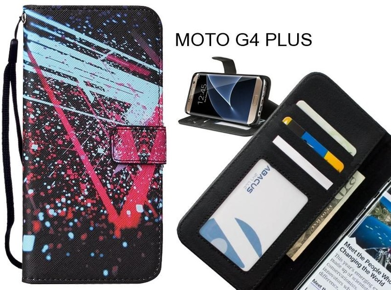 the latest 4bcb4 dd3c7 MOTO G4 PLUS case leather wallet case printed ID