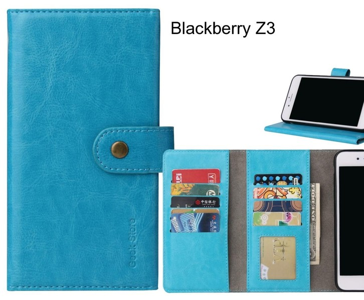 Blackberry Z3 Case 9 card slots wallet leather case folding stand