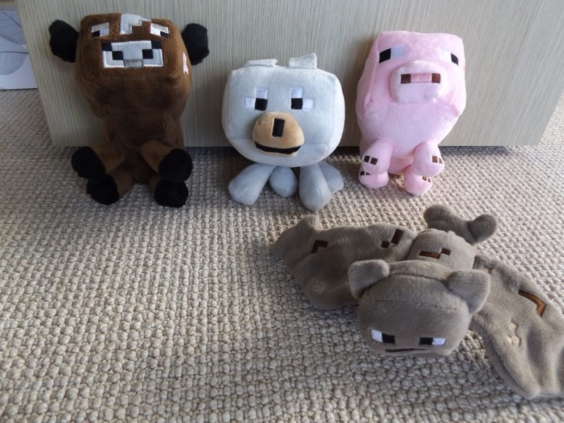 4 Minecraft Animal Soft Toys Pig Cow Wolf Bat Trade Me