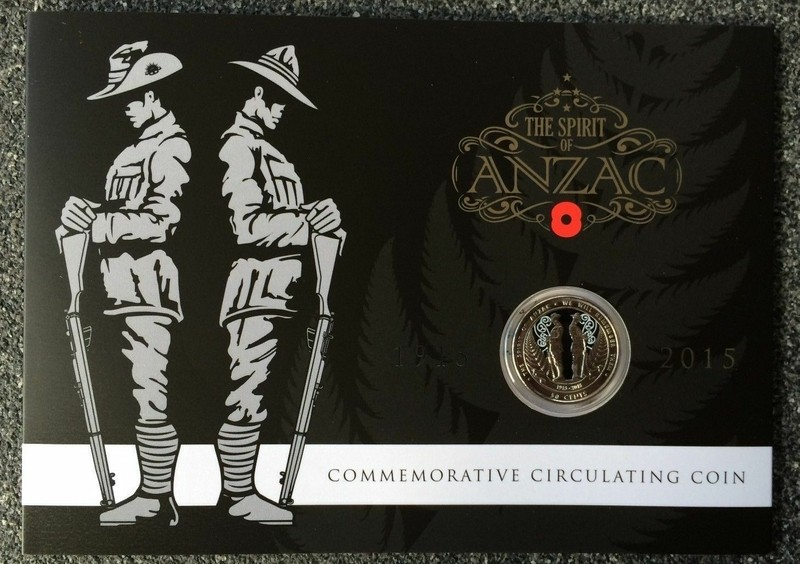 New Zealand 2015 The Spirit of Anzac 50 Cents Nickel Plated Steel Coin UNC