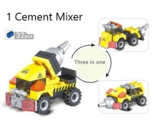 Construction Vehicles - 3 in 1 Cement Mixer Block Set - Lego compatible