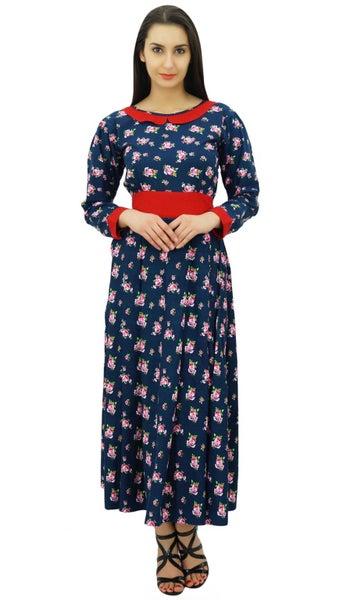 b27a7bb386f Bimba Women's Cotton Maxi Dresses Floral Print Round Neck Long ...