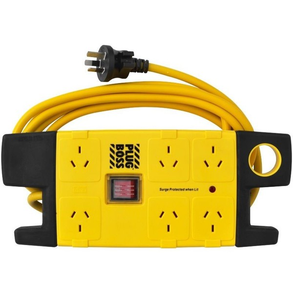 HPM 6-Outlet Electrical Plug Boss Heavy Duty Powerboard with 3.1m Cable Length