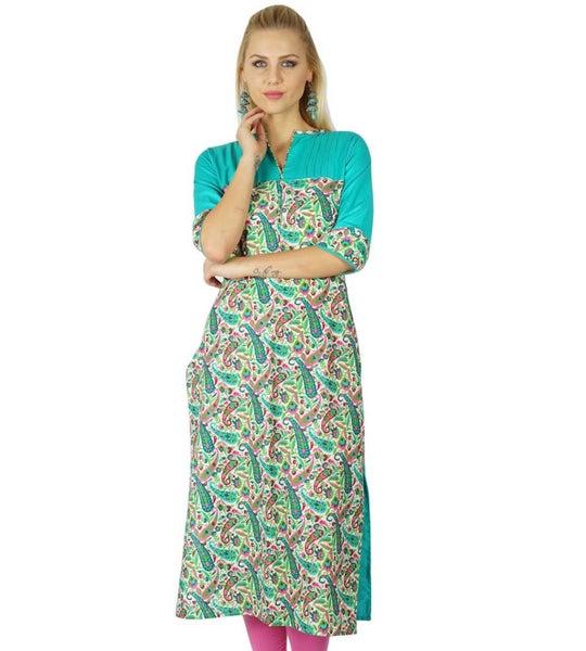 074e1276e3f098 Bimba Women Cotton custom Kurta Kurti Ethnic Indian 3/4 Sleeve Top Casual  Tunic   Trade Me