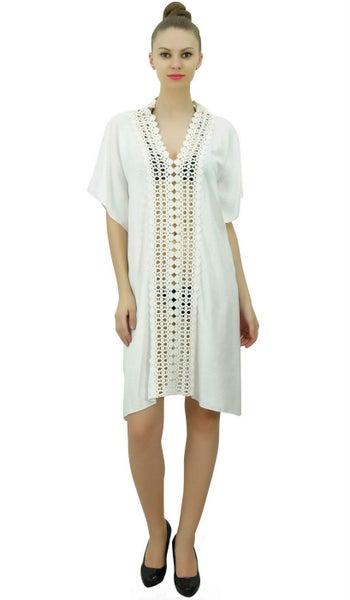 Womens Beach Wear Dress Bikini Cover Up Kaftan Polka Dot Summer Holiday Dress