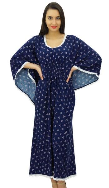 49d3098e963d0 Bimba Women Long Kimono Sleeve Kaftan Night Dress Coverup Caftan-Navy Blue    Trade Me