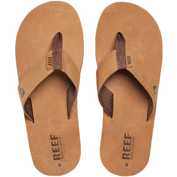 fba7bf42957c Reef Mens Leather Smoothy Holiday Pool Beach Flip Flops Thongs Sandals -  Bronze