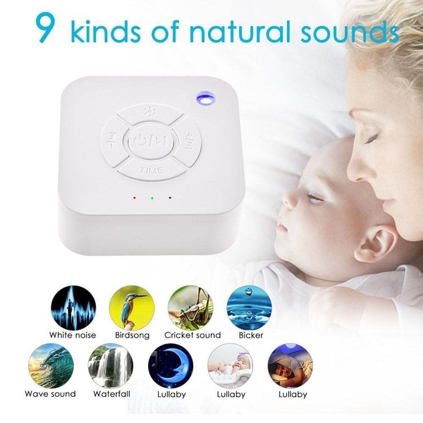 White Noise Machine USB Rechargeable Deep Sleep Sound Relaxing with 9 Sounds