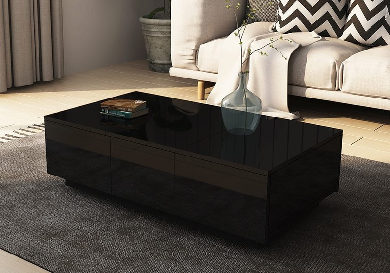 Coffee Table Wooden Storage Black Trade Me