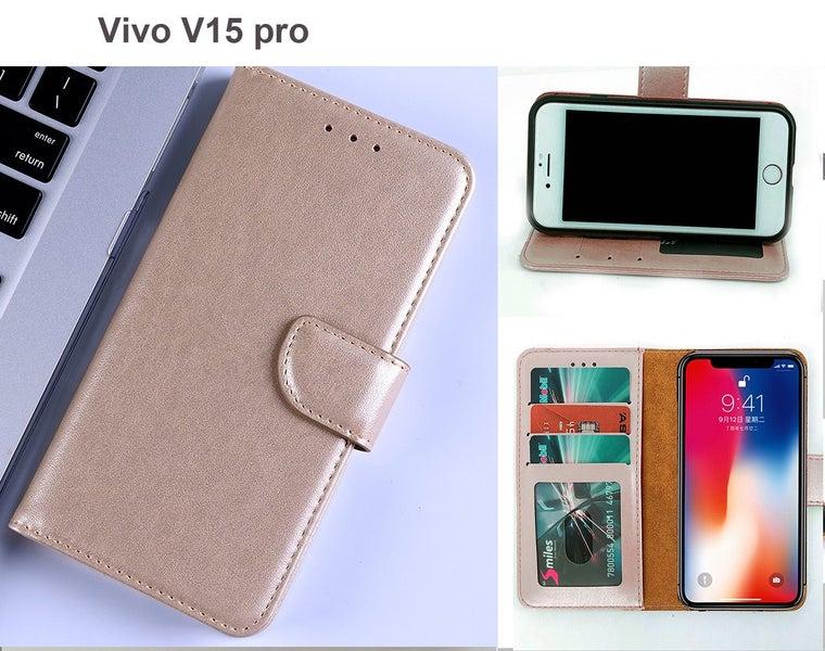... Vivo V15 Pro case leather wallet slim 3 slots ID window kickstand gold Trade Me