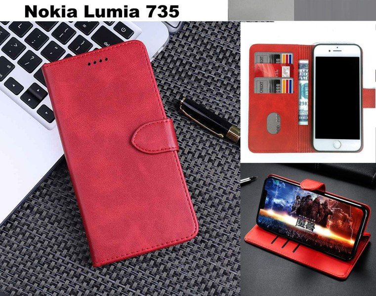 buy popular 12f5e ee5c7 Nokia Lumia 735 case leather wallet 3 slots cow hide finish wine