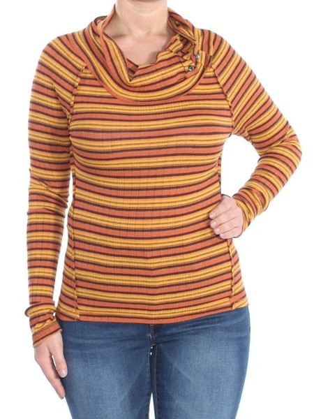 4620ed9b61e FREE PEOPLE Womens Orange Striped Thermal Long Sleeve Cowl Neck Evening Top