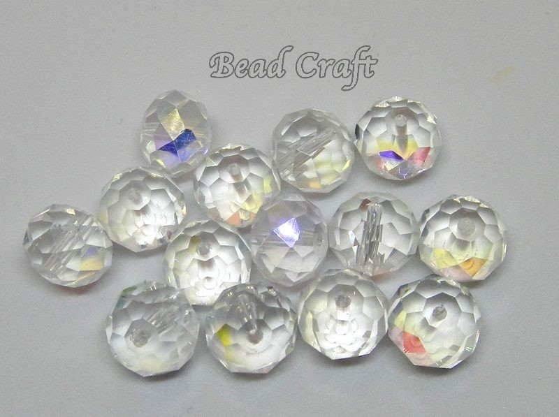 d494b46a6 10 Sparkling CLEAR AB RONDELLE CRYSTALS - 14 mm | Trade Me