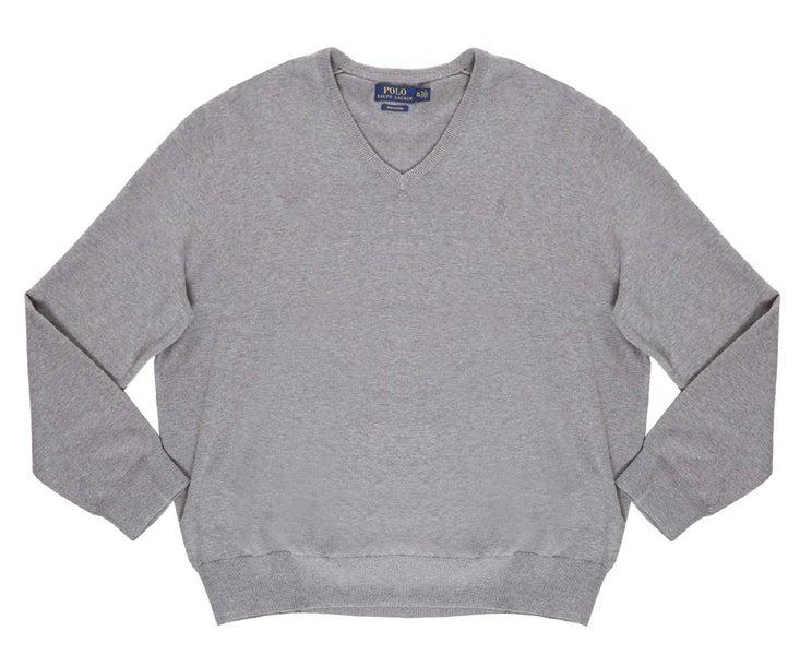 V Men's Polo Ralph Neck Grey Cotton Sweater Lauren KJ3Tl1cF