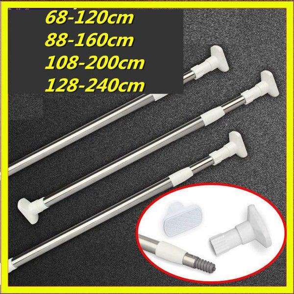 Quick-Fit Metal Telescopic Shower Curtain Rail Extendable Bath Pole Rod  Spring