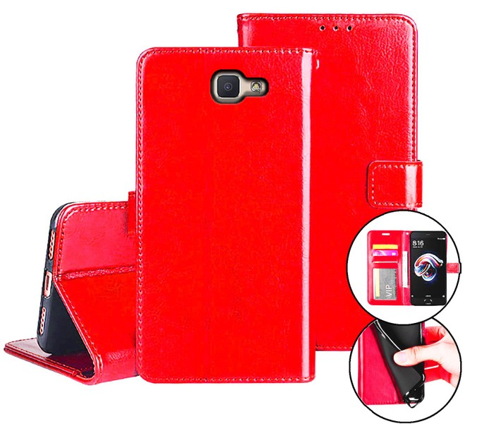 Galaxy j5 prime case fine leather flip wallet 3 slots cash pocket red