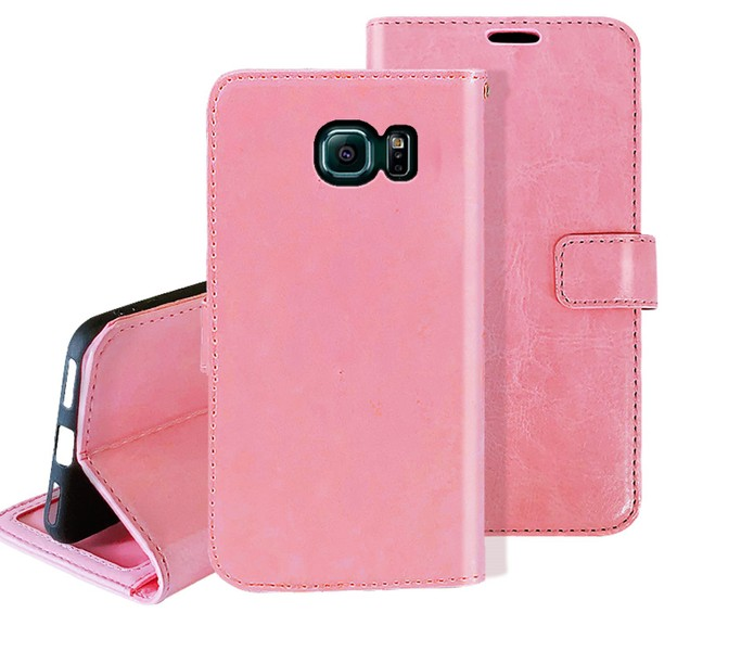 e90d48ef7f7 Galaxy s6 edge case fine leather flip wallet 3 slots cash pocket pink
