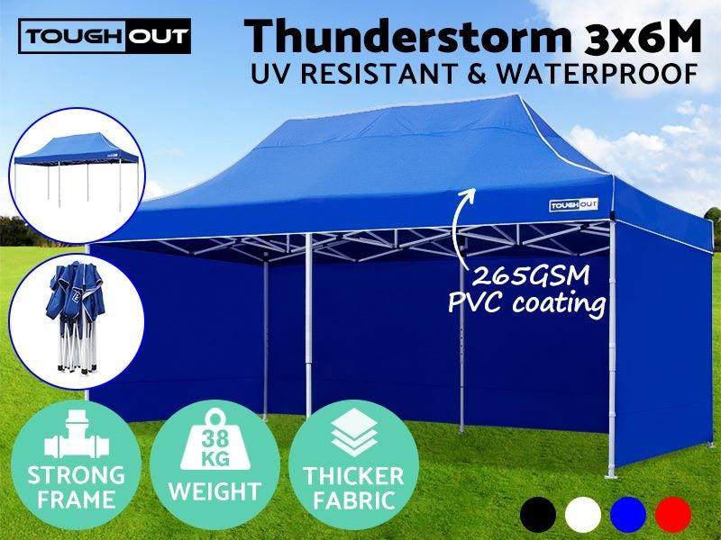 ToughOut Thunderstorm Pop Up Gazebo 3x6m BLUE