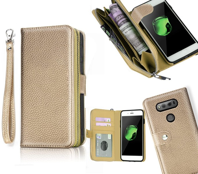 LG v20 case leather wallet zipper pouch Wrist Strap gld