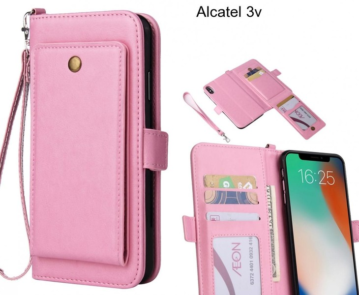 Alcatel 3v Case Retro Leather Wallet Case