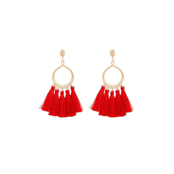 b1ce18258bb13 Red Gold Etched Open Ring Tassel Earring