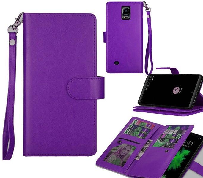 Samsung Galaxy note 4 case cow hide finish multi cards wrist strap purple