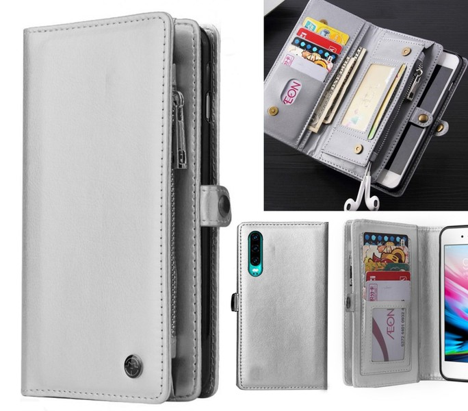 Huawei p30 fine leather wallet case multi cards cash pockets zip grey