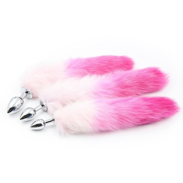 7a528b18a S M L Size Fox Tail Stainless Steel Butt Plug Anus Insert Stopper Fetish  Anim...
