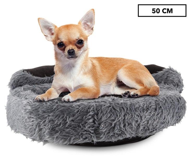 Trendy Pets 50cm Plush Paw Print Pet Bed Grey Dog Bolster Beds