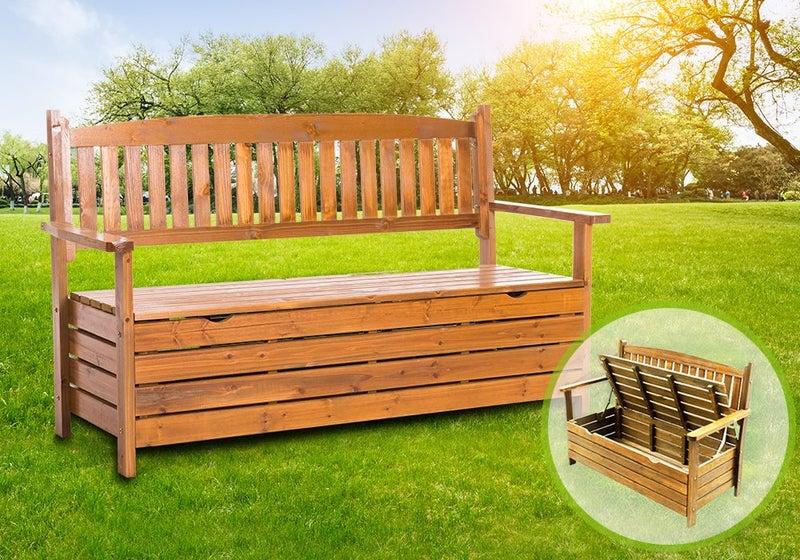 Miraculous Wooden Garden Bench Storage Seat Timber Outdoor Alphanode Cool Chair Designs And Ideas Alphanodeonline