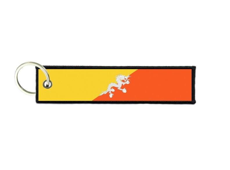 Keychain key ring tags fabric motorcycles car biker cute flag bhutan