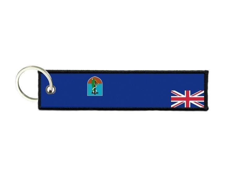 Keychain key ring tags fabric motorcycles car biker cute flag montserrat