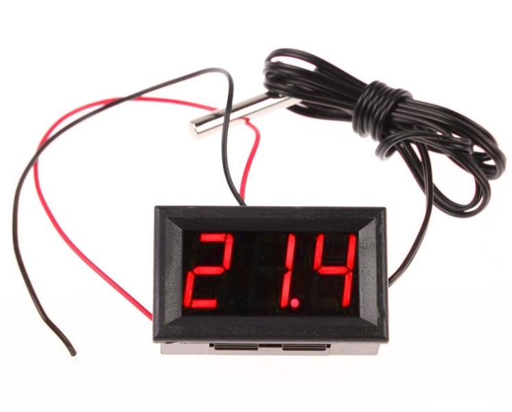 Thermometer Easy Read LED With External Probe Green Red or Blue
