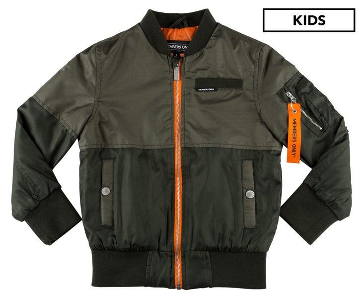794dc052c Members Only Boys' Flight Satin 2 Tone Bomber Jacket Green Jackets